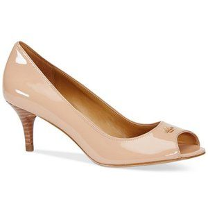 Coach Delilah Nude shell patent leather peep toe